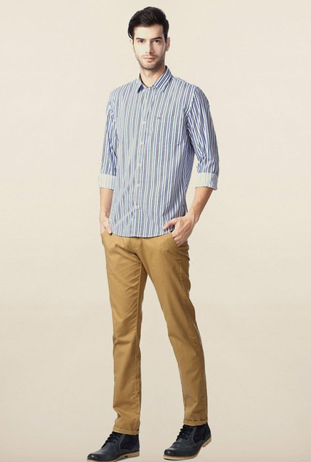 Peter England Blue Striped Casual Shirt