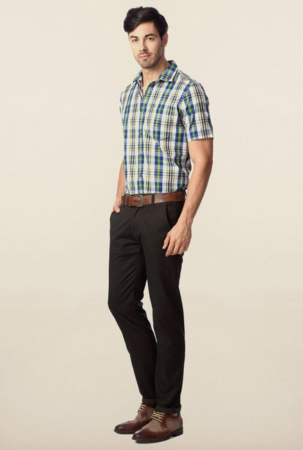 Peter England Green & Blue Checks Casual Shirt