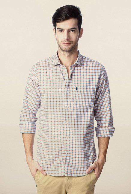 Peter England Blue Slim Fit Casual Shirt