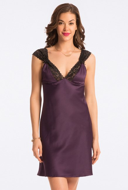 Pretty Secrets Purple Solid Chemise
