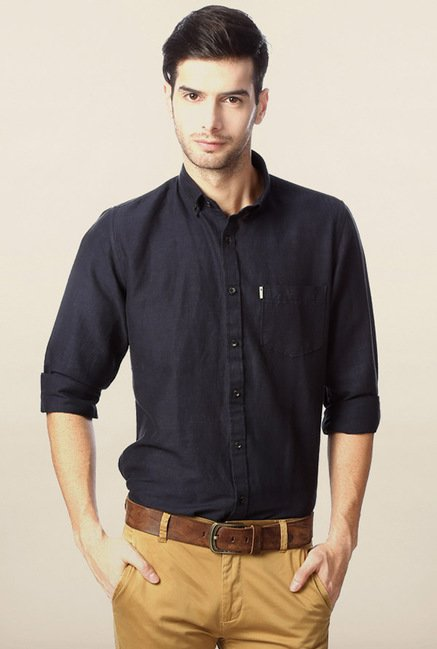 Peter England Navy Solid Casual Shirt