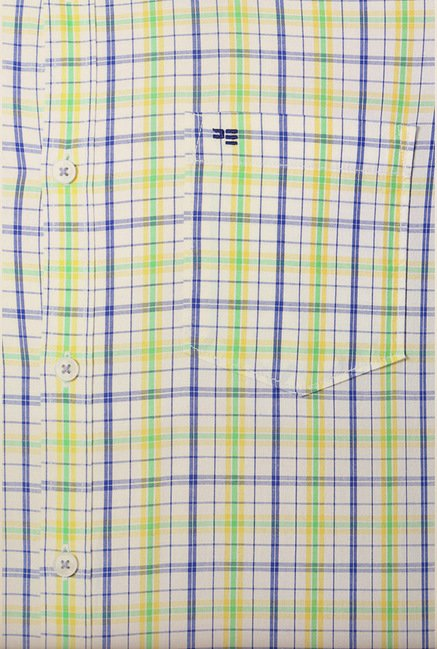 Peter England Green Tartan Checks Casual Shirt