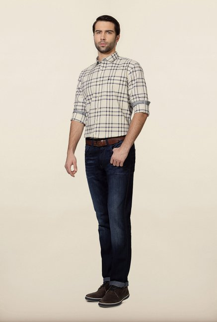 Allen Solly White & Navy Checks Casual Shirt