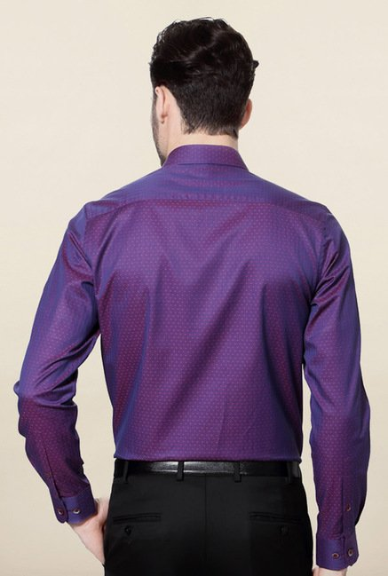 Peter England Purple Solid Casual Shirt