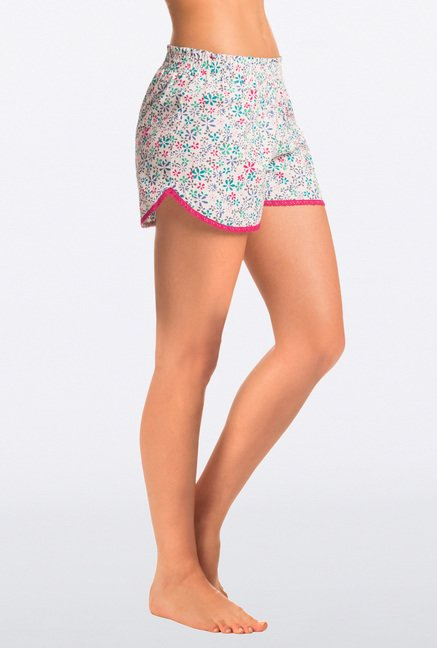 Pretty Secrets White Cotton Shorts