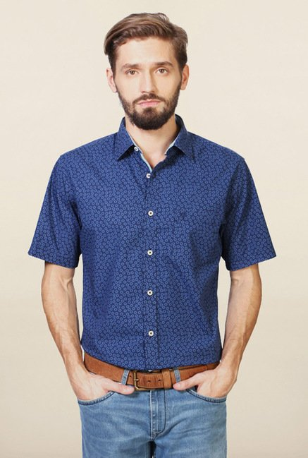 Allen Solly Blue Printed Cotton Slim Fit Shirt