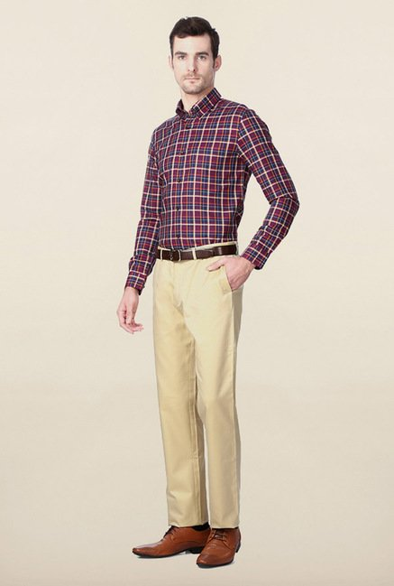 Peter England Maroon & Navy Checks Shirt