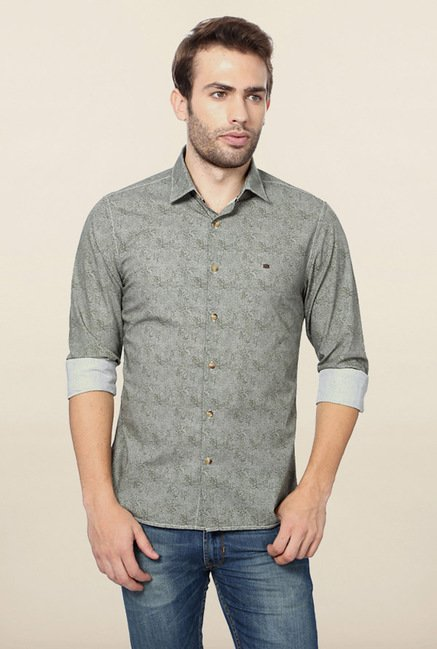 Peter England Green Printed Shirt
