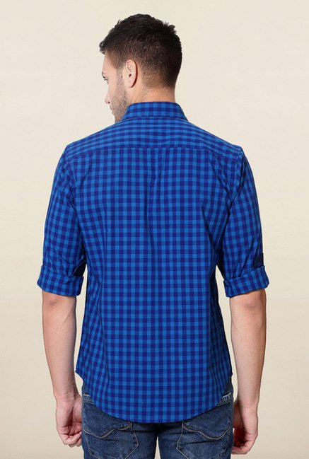 Peter England Blue Shepherds Checks Casual Shirt