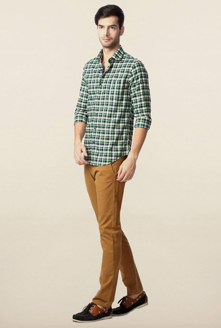Peter England Navy & Green Checks Casual Shirt