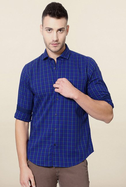 Peter England Dark Blue Checks Casual Shirt