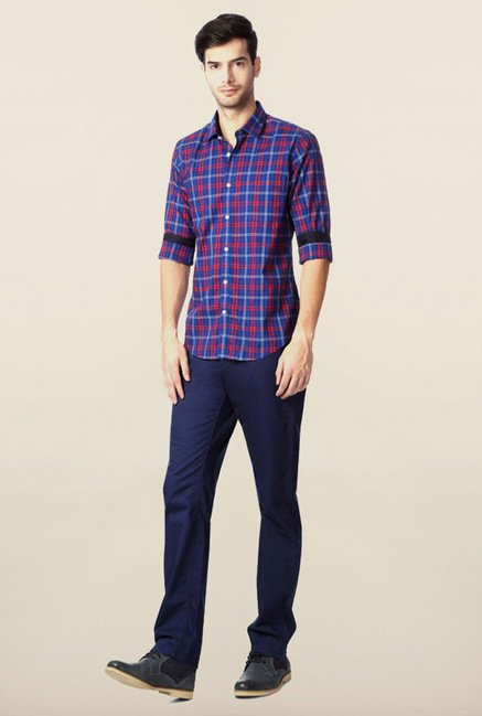 Peter England Blue & Red Casual Shirt