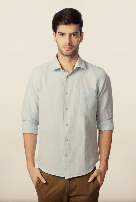 Peter England Light Blue Solid Casual Shirt