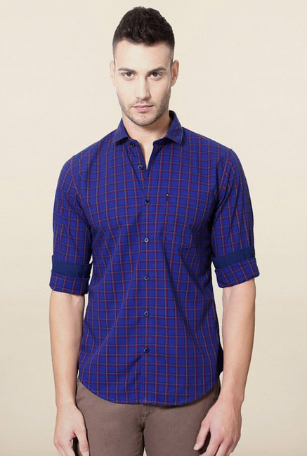 Peter England Indigo Checks Shirt