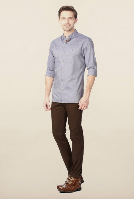 Peter England Blue Solid Casual Shirt