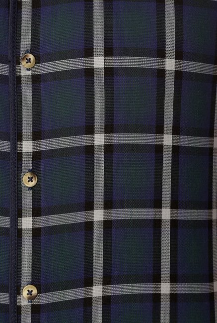 Peter England Navy & Green Checks Shirt