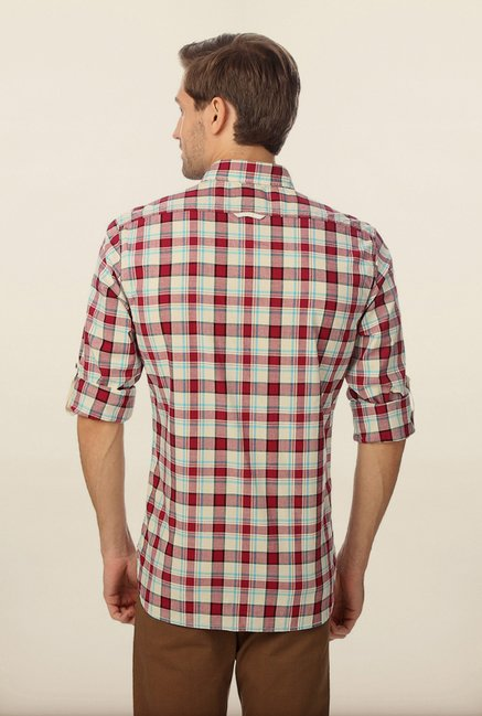 Peter England Maroon Checks Shirt