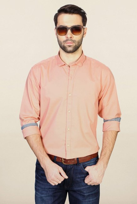 Allen Solly Peach Solid Casual Shirt