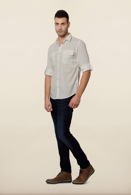 Peter England White Slim Fit Casual Shirt
