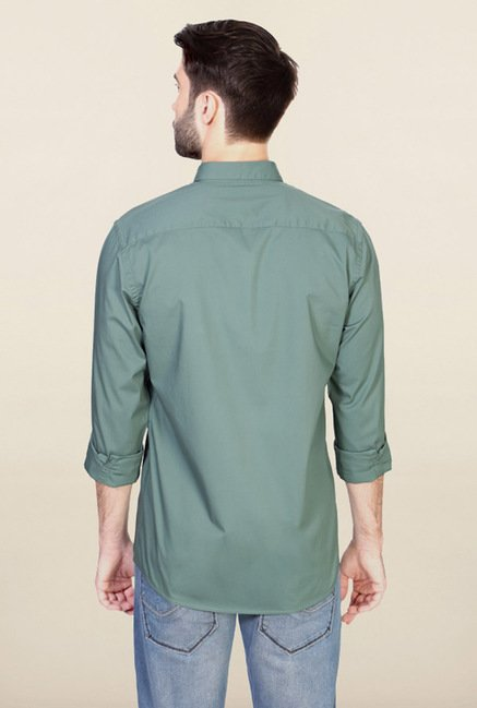 Allen Solly Green Solid Casual Shirt