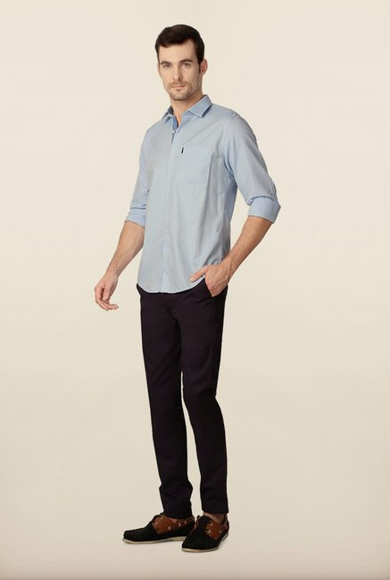 Peter England Sky Blue Solid Casual Shirt