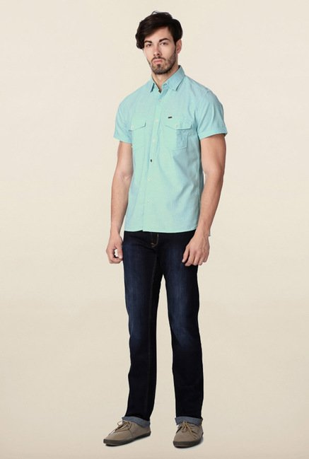 Peter England Turquoise Solid Slim Fit Shirt