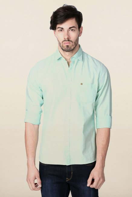 Peter England Turquoise Solid Casual Shirt