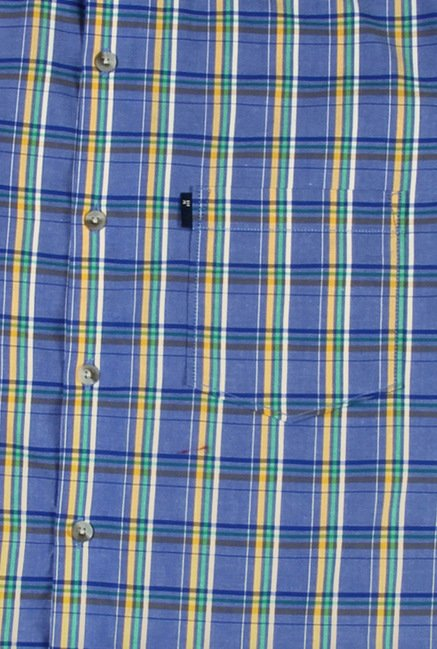 Peter England Blue Checks Slim Fit Shirt
