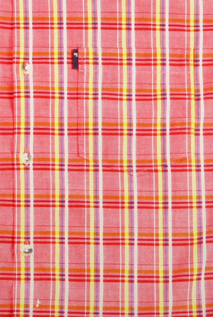 Peter England Pink Checks Casual Shirt