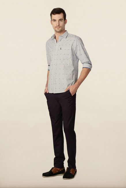 Peter England Blue Anchor Printed Casual Shirt
