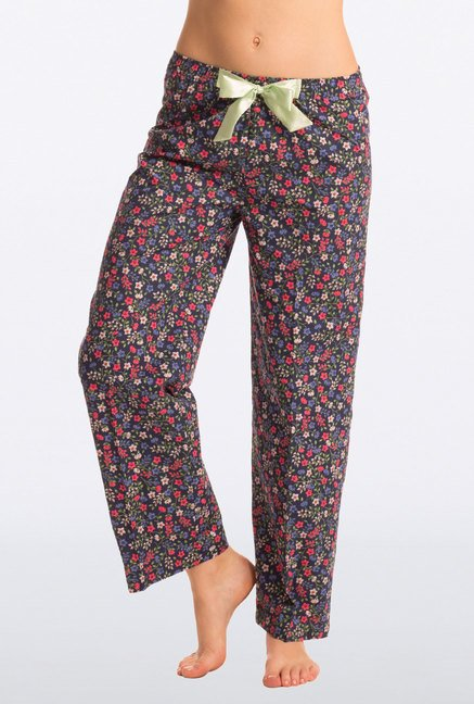 Pretty Secrets Navy Floral Print Cotton Pyjama