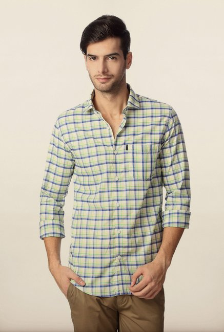 Peter England Off-White Checks Shirt