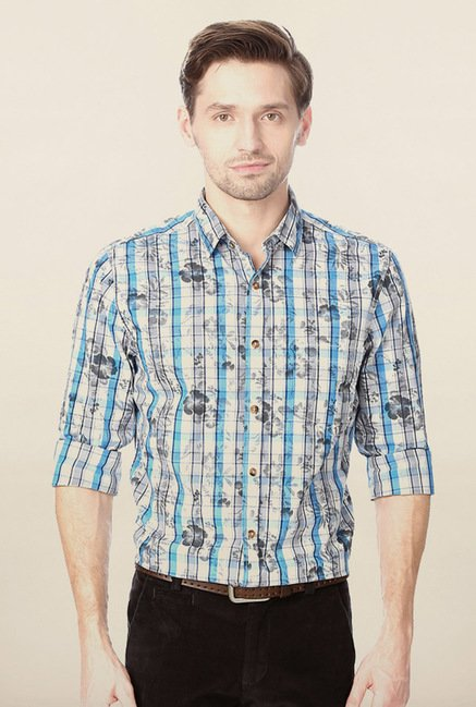 Peter England White Printed Shirt