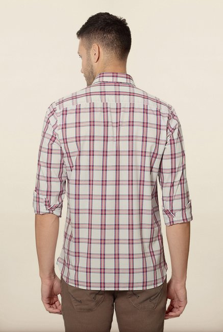 Peter England White Checks Cotton Shirt