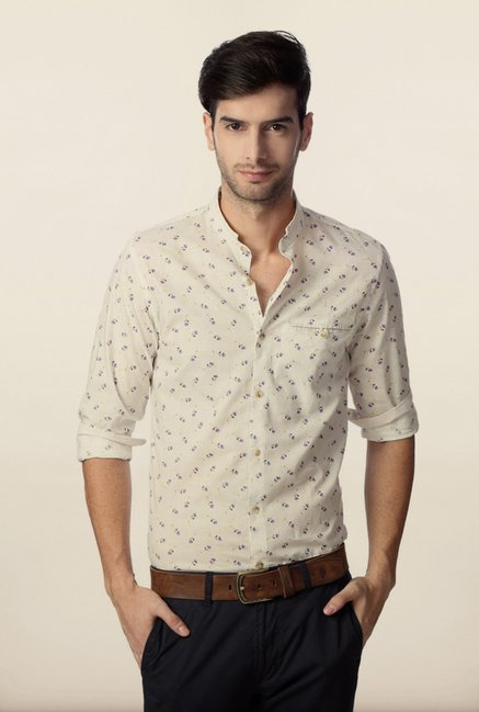 Peter England Cream Printed Casual Shirt