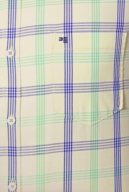 Peter England Yellow Checks Shirt