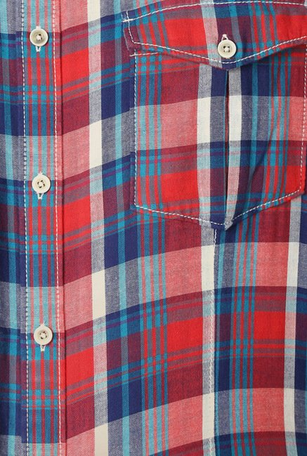 Peter England Red Checks Casual Shirt