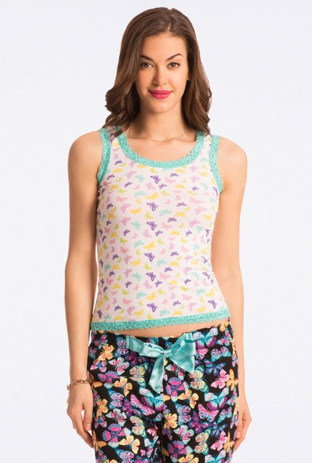 Pretty Secrets White Printed Tank Top