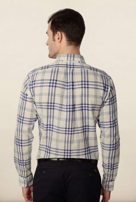 Peter England Off-White Checks Casual Shirt