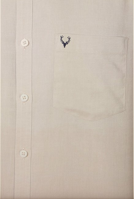 Allen Solly Beige Solid Casual Shirt