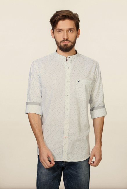 Allen Solly White Printed Casual Shirt