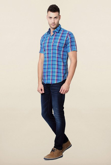 Peter England Red & Blue Checks Cotton Casual Shirt