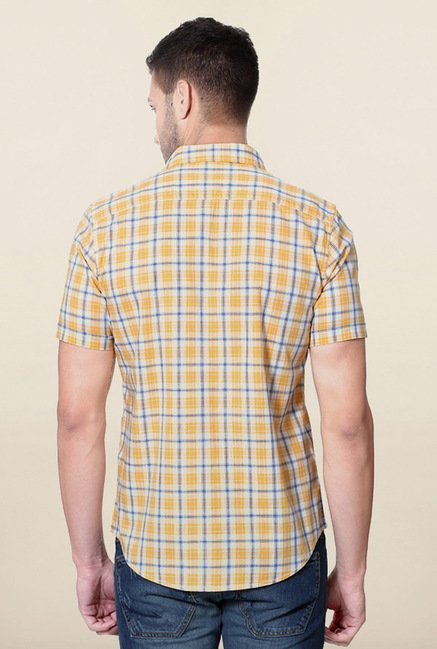 Peter England Yellow Checks Cotton Shirt