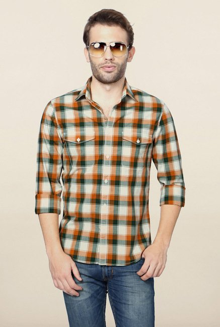 Peter England Red & Green Checks Casual Shirt