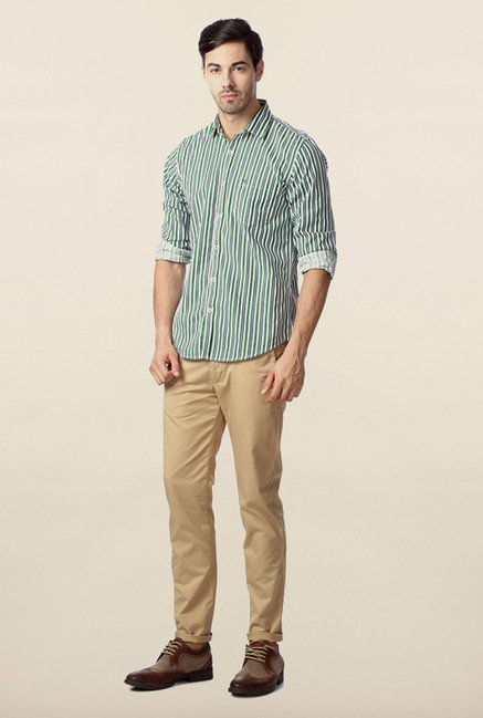 Peter England Green Striped Shirt
