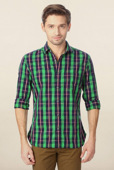 Peter England Green & Navy Checks Casual Shirt