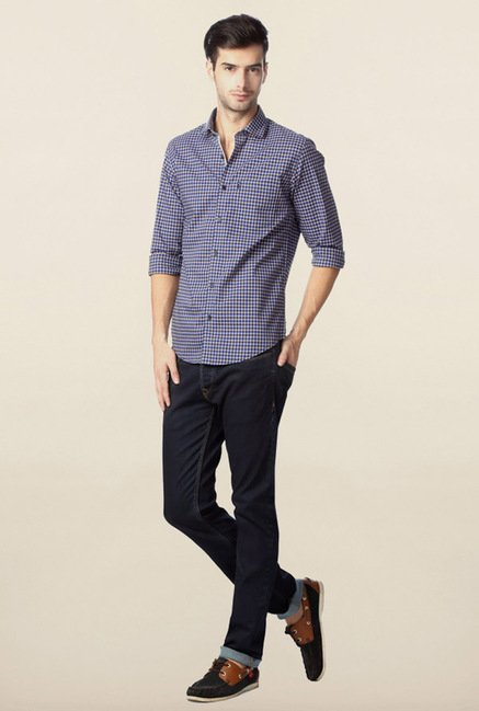 Peter England Navy Checks Slim Fit Shirt
