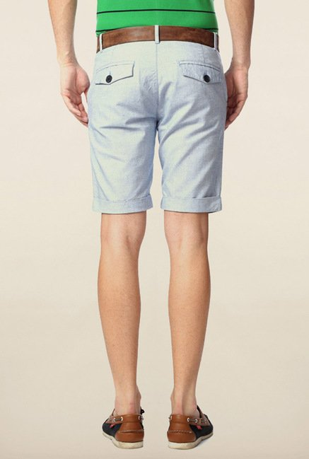 Peter England Blue Solid Cotton Shorts