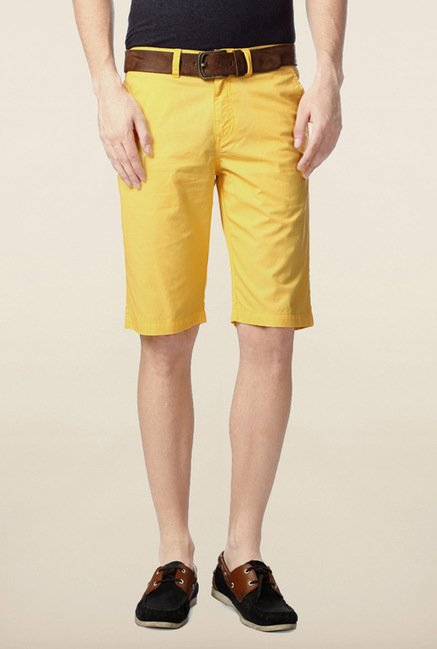 Peter England Yellow Solid Cotton Shorts