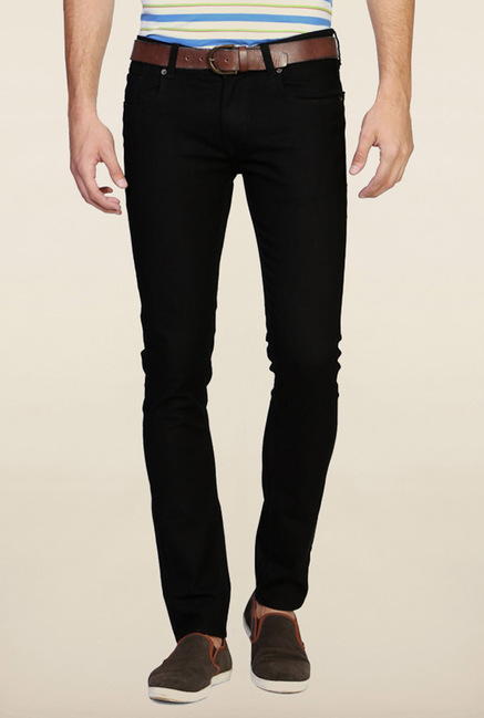 Peter England Black Solid Jeans